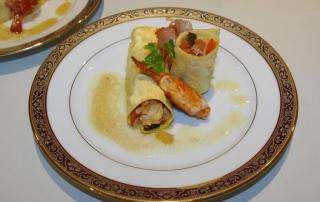 Cannellonis de homard à la coriandre et au chorizo